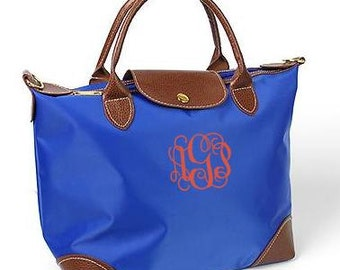 SALE Monogrammed/Personalized Blue & Brown Champ Tote Bag