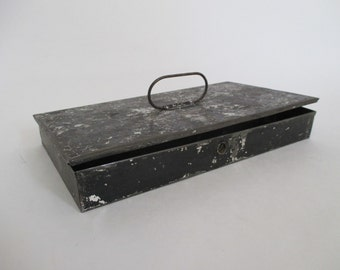 Vintage Black Metal Storage Box - Industrial Decor - Studio Decor