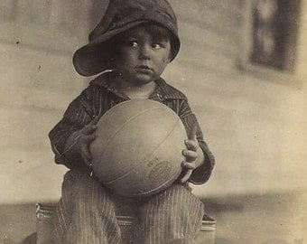 Photo, Antique, Download, Depression Era Boy with Basketball, Paper Ephemera