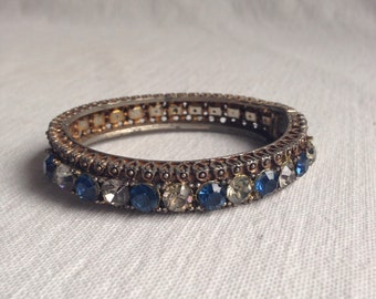Vintage hinged bracelet with blue and clear rhinestones  costume jewelry