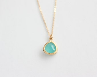Simple Aqua Stone Necklace , Gold Stone Necklace , Blue Necklace , Blue Drop Gold Chain , Wedding Jewelry , Bridesmaids Necklace , Red Pink