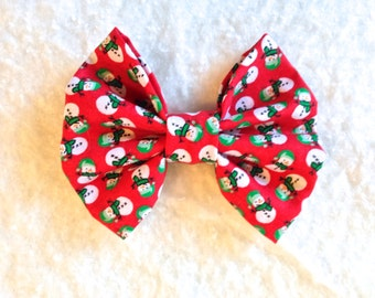 HOLIDAY BOW - Snowman Hair Bow - Christmas Stocking Stuffer