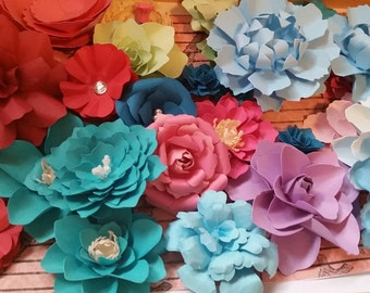 Mixed colors Large Paper Flowers. Great for Birthdays, Baby shower, Weddings Decorations (Set of 8) Custom colors