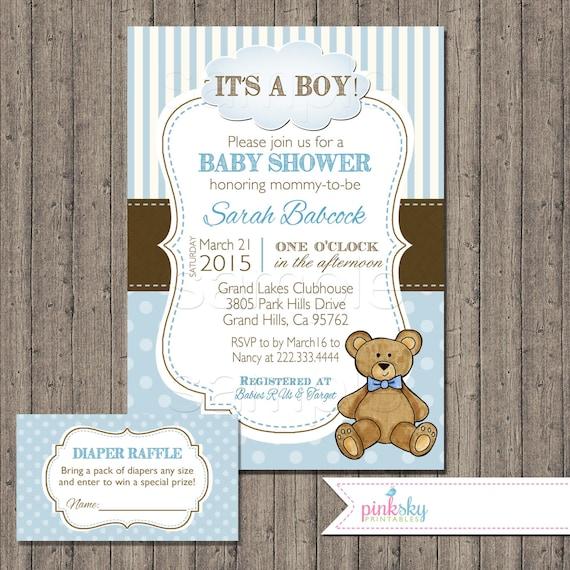 Boy Teddy Bear Baby Shower Invitation With Free Diaper
