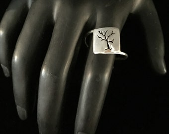 Size 10.25 -Sterling Silver Hand-cut Tree Ring -  Handmade Reiki Infused