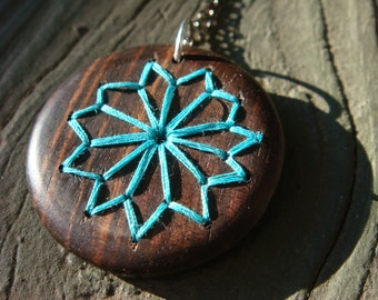 Blue Embroidered Wood Necklace with Geometric Floral Design