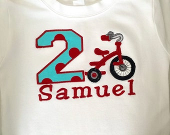 Tricycle Embroidered Applique  with Name and Letter or Number