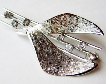 Vintage 50s Mid Century Modernist Sterling Silver Abstract Rhinestone Brooch Pin