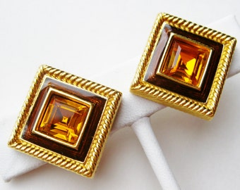 Vintage 80s Gold Swarovski Crystal Amber Jeweled Enamel Clip Earrings Swan Mark