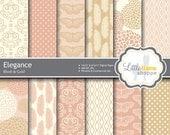 Blush and Gold Wedding Digital Paper, Elegant Pink Gold Wedding Digital Backgrounds, Wedding Scrapbook Paper, Commercial Use