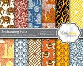 Enchanting India Digital Paper, Indian Scrapbook Paper, Asian Elephants, Tiger Eyes, Taj Mahal, Batik, Henna, Commercial Use