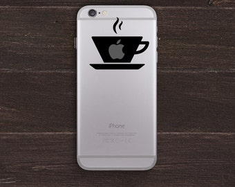 Warm Cup of Apple, Coffee Lover Vinyl iPhone Decal BAS-0265