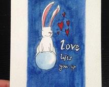 Bunny art print - wall art -home decor - rabbit wall art - wall decor