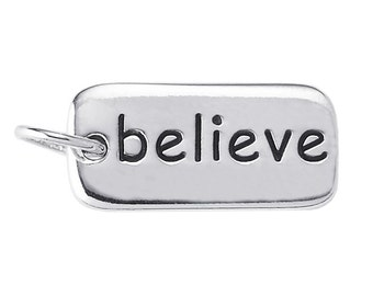 "Sterling Silver ""believe"" Charm"
