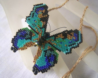 Butterfly Necklace Seed Bead 3D Brick Stitch