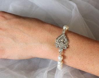 Deco Bridal Bracelet, Crystal & Pearl Wedding Bracelet,  Pearl Bridal Jewelry, Bridal Accessories, LUCY