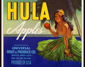 1950s Topless Hula Girl Grass Skirt Palm Tree Apple Crate Label Seattle WA
