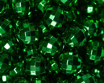 20mm Green UV Plated Disco Ball Beads for Chunky Necklace 10 ct Bubble Gum Necklace Beads Faceted