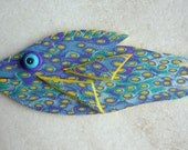 3D Large Fish Magnet or Wall Art in Blue and Purple Polymer Clay