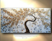 Abstract Painting Original Canvas Trending Item Tree Art White Gold Silver Grey Flower Oil Paintings Decor Gift idea Artwork OTO