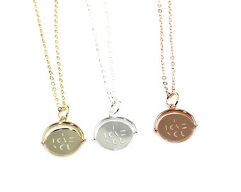 I Love You Necklace - Spinner Necklace - Layering Necklace, Sterling Silver, 14K Gold Filled or 14K Rose Gold Filled, Love, BFF Gifts