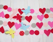 Garland , party decorations , birthday banner , felt heart garland , wedding decoration , birthday decor , party decorations