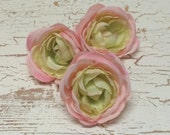 Artificial Flower - THREE PINK and GREEN Ranunculus - 4 Inches - Ranunculus Flowers, Wedding, Flower Crowns