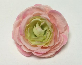 Artificial Flower - One PINK and GREEN Ranunculus - 4 Inches - Ranunculus Flower