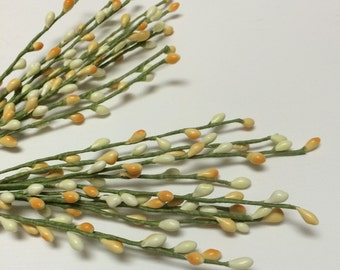 Flower Pick - Two PEACH and CREAM Pip Berry Picks - Artificial Flowers - Pip Berry Spray