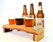 """BEER FLIGHT - """"Ragar"""" - 3 Hole Beer Flight Sampler / Glass holder - 100% recycled"""