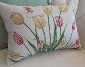 SPRING TULIPS TAPESTRY Pillow. Yellow and Pink tulips, butterflies, green leaves on beige.  Perfect Spring Decor Accent! Two main sizes.
