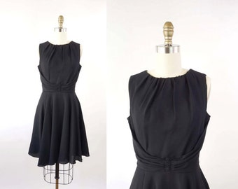 VINTAGE 1950s Black Dress Short Circle Skirt