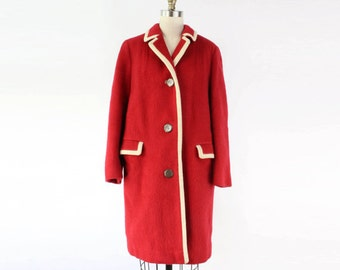 VINTAGE 1960 Red Coat White Piping Wool Small