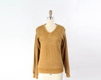 VINTAGE 1950s Sweatshirt Mustard Knit
