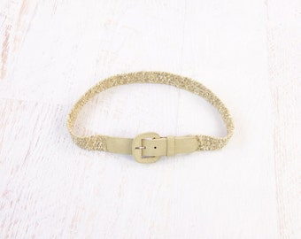 VINTAGE Natural Woven Belt Suede Leather Light