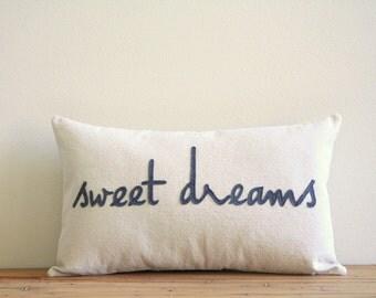 "sweet dreams decorative pillow cover, 12"" x 20"", natural urban farmhouse industrial, nursery decor, typography"