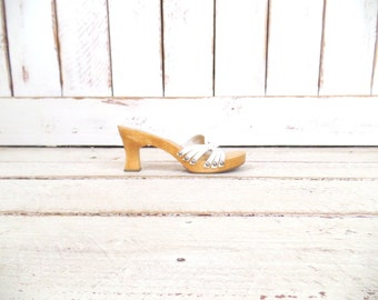 White leather open toe wooden high heel vintage clogs/MIA leather wooden mule sandals