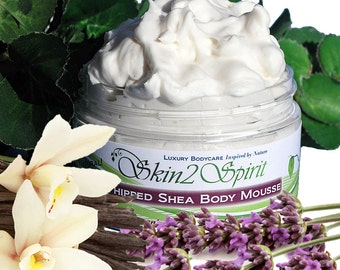 LAVENDER VANILLA Shea Body Butter / Mousse -  Organic - Whipped  - Truly All Natural - Aromatherapy - No Synthetic Fragrances