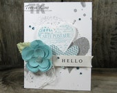 Hello Hearts and Aqua Flowers Blank Greeting Card