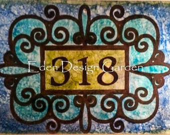 Custom etched metal address house or welcome sign Stained Glass Scroll style 8x12