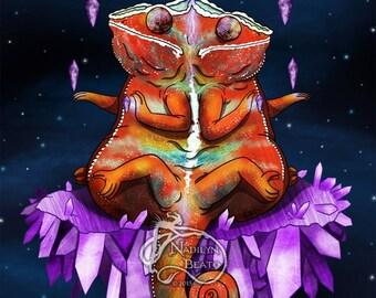 Conjoined Chameleons Print
