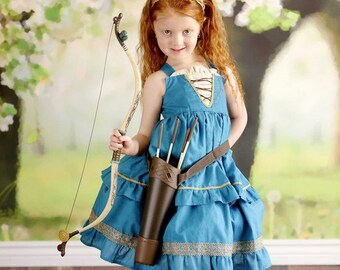 Girls Brave Dress, Princess Party Dress inspired by Disney's Princess Merida available in sizes 2T-8girls
