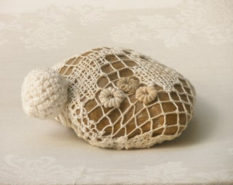 Rustic Art, Country Decor Collectibles, Decorated Crochet Lace Stone, Upcyclrs Eco Friendly Art, Paperweights, Shabby Chic Decor