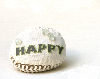 Embroidery Message  Stone ,Happy, Rustic Art, Country decor Collectibles, Crochet  Stone, Paperweight, Shabby chic Decor,Doorstop.