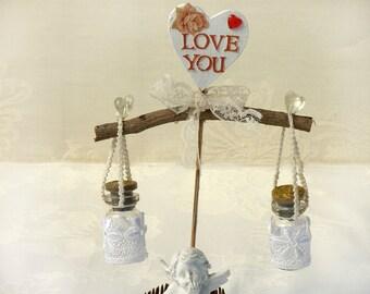 Pair  lace- LOVE- bottles , Love note, Wedding cake topper, Cute wedding cake topper, Bridesmaid invitation, Rustic bottles wish.