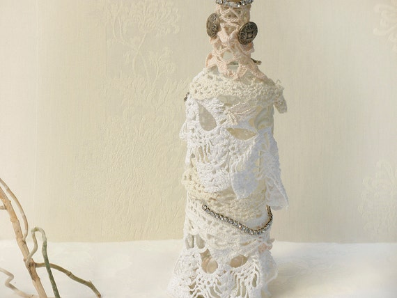 Crochet Lace bottle, Shabby chic Antique bottle, Eco Friendly Home Decor, Cottage Decor , Upcycled Glass Bottle, Home Decor.
