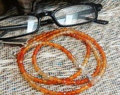 "Vivid orange faceted fire carnelian eyeglass holder  lanyard 31"" long ombre semiprecious stone jewelry packaged in a gift bag 1371"