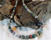 """Multicolor Indian agate necklace 25"""" long graduated size natural stone necklace semiprecious stone jewelry packaged in a gift bag 11021"""