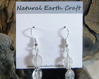 Delicate rock crystal quartz earrings clear quartz oval beads semiprecious stone jewelry packaged in a colorful gauze gift bag 2771