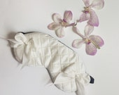 Bridal Sleep mask quilted in ivory silk with ivory silk bows